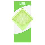 Vertical Banner of lime square slice. Space for Stock Image