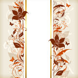 Vertical banner with orange and brown flowers Royalty Free Stock Photo