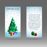 Vertical banner 2017 with polygonal Christmas tree. Illustration Stock Photo