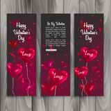 Vertical Banner set with balloons shape of heart, banner for Happy Valentine s Day celebration. Vector eps 10 Stock Image