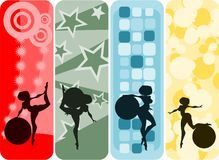 Vertical banner set: girl and ball. Illustration:set of vertical banners with girls and gymnastic balls silhouettes against abstract backgrounds Stock Photography