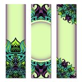 Vertical banner set with ornate circular pattern. Vector banners templates with ornate round pattern stock illustration