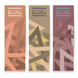 Vertical Banner Set Of Three Modern Graphic With Vintage Color Theme. Stock Photo