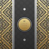 Vertical banner template on golden metallic background with seamless pattern Stock Photography
