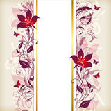 Vertical banner with violet and pink flowers Stock Photo