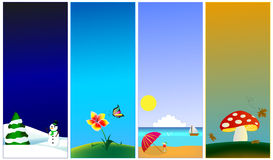 Vertical banners - 4 seasons Royalty Free Stock Images