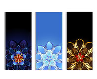 Vertical banners with abstract flowers. Three vertical banner decorated with gold and silver abstract flowers with blue, brown and light background Stock Images