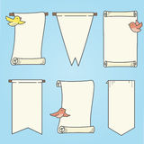 Vertical Banners and Birds. Illustration of banners and birds. Elements are grouped on separate layers in vector file. Birds can be removed; colors can be Stock Photography