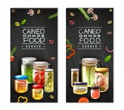 Canned Food Vertical Banners. Vertical banners with canned food in glass jars on black background with sliced vegetables isolated vector illustration royalty free illustration
