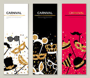 Vertical Banners with Carnival Masks Royalty Free Stock Images