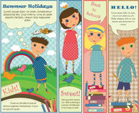 Vertical Banners with Cute Kids vector illustration