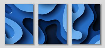 Vertical A4 flyers with 3D abstract background with paper cut blue waves. Vector design layout. Vertical A4 banners with 3D abstract background with blue paper Royalty Free Stock Photography