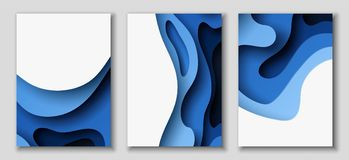 Vertical A4 flyers with 3D abstract background with paper cut blue waves. Vector design layout. Vertical A4 banners with 3D abstract background with blue paper Royalty Free Stock Image
