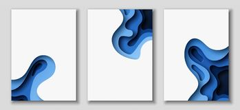 Vertical A4 flyers with 3D abstract background with paper cut blue waves. Vector design layout. Vertical A4 banners with 3D abstract background with blue paper Stock Illustration