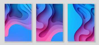 Vertical A4 flyers with 3D abstract background with paper cut blue waves. Vector design layout. Vertical A4 banners with 3D abstract background with blue and Royalty Free Stock Photo