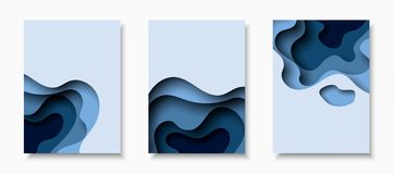 Vertical banners with 3D abstract background with paper cut shapes.. Vertical A4 banners with 3D abstract background with blue paper cut waves. Vector design Vector Illustration