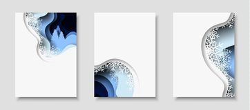Vertical banners with 3D abstract background with paper cut shapes. Vector design layout. Vertical A4 card set with New Year 2018 3d abstract paper cut Royalty Free Stock Photography