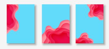 Vertical banners with 3D abstract background with paper cut shapes. Vector design layout. Vertical A4 banners with 3D abstract background with pink paper cut Stock Illustration