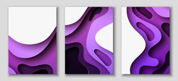 Vertical A4 flyers with 3D abstract background with paper cut purple waves. Vector design layout. Vertical A4 banners with 3D abstract background with purple Stock Illustration