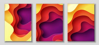 Vertical A4 flyers with 3D abstract background with paper cut shapes. Vector design layout. Vertical A4 banners with 3D abstract background with red, purple Royalty Free Stock Image