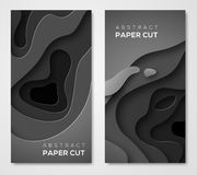 Vertical banners with 3D black paper cut. Vertical banners with 3D abstract background, black paper cut shapes. Vector design layout for business presentations Royalty Free Illustration