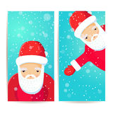 Vertical banners with flat Santa Claus Stock Photos