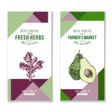 Vertical banners - fresh herbs and farmers market Stock Images