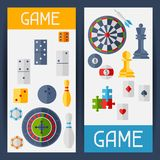 Vertical banners with game icons in flat design Royalty Free Stock Photo