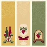Vertical banners with grapes and wine Stock Photography