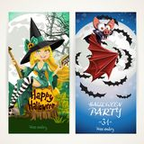Vertical banners for Halloween party with witch and bat Royalty Free Stock Images