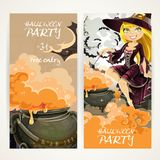 Vertical banners for Halloween party with witch and cauldron Stock Images