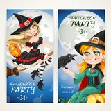 Vertical banners for Halloween party with witch flying on a broom Royalty Free Stock Image