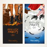 Vertical banners for Halloween party with witch legs in boots Stock Image