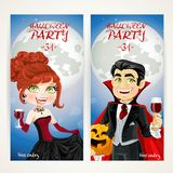 Vertical banners for Halloween Vampire party Stock Images