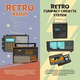Vertical banners with illustrations of vintage recorders and radios. Vector vintage radio and recorder tape retro Royalty Free Stock Images