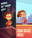 Vertical Banners With Kids In Superhero Costumes Royalty Free Stock Photo