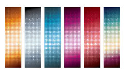 Vertical banners with lights. Six vertical banner with lights isolated on the white Stock Photography