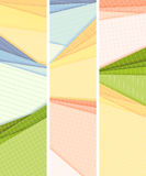 Vertical banners lined and squared colored paper lie on each ot. Set vertical vector banners lined and squared sheets of paper from notebook lie on each other Royalty Free Stock Images