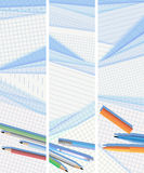 Vertical banners lined and squared paper lie on ea. Set vertical vector banners lined and squared sheets of paper from notebook lie on each other with pens Royalty Free Stock Images