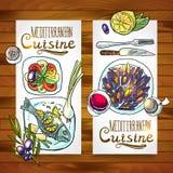 Vertical banners mediterranean cuisine stock illustration