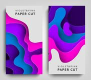 Vertical Banners Modern paper art cartoon abstract violet and blue water waves. Paper cut style, 3d effect imitation. Space for text. Origami design template Stock Photography