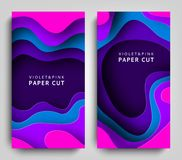 Vertical banners paper cut. Paper art in violet and blue colors. 3D abstract background with paper cut shapes. Carving. Art. Design layout for business Royalty Free Stock Image