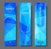 Vertical banners with polygonal abstract blue background Stock Photos