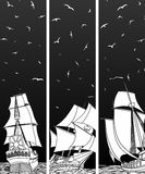 Vertical banners of sailing ships with birds. Royalty Free Stock Image