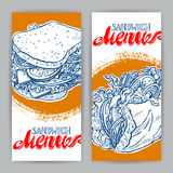 Vertical banners with sandwiches Stock Image