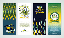 Vertical banners set with Brazil Carnival Backgrounds. Royalty Free Stock Photos