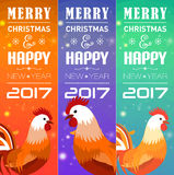 Vertical Banners Set with 2017 Chinese New Year Elements. Bokeh. Vector illustration. Vector illustration of vertical Banners Set with 2017 Chinese New Year Royalty Free Stock Image