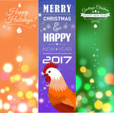 Vertical Banners Set with 2017 Chinese New Year Elements. Bokeh. Vector illustration. Vector illustration of vertical Banners Set with 2017 Chinese New Year vector illustration
