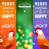 Vertical Banners Set with 2017 Chinese New Year Elements. Bokeh. Vector illustration. Vector illustration of vertical Banners Set with 2017 Chinese New Year Royalty Free Stock Photos