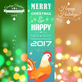 Vertical Banners Set with 2017 Chinese New Year Elements. Bokeh. Vector illustration. Vector illustration of vertical Banners Set with 2017 Chinese New Year stock illustration